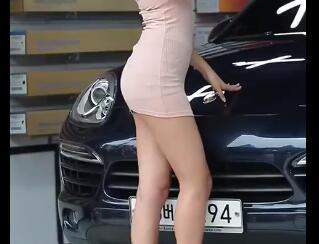 韩国美女车模 完美身材 包臀裙