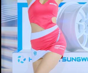 韩国美女车模 首尔展场 超短包臀裙