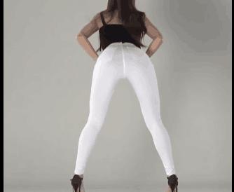 韩国女团 Pocket Girls 白色紧身裤 翘臀
